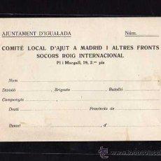 Militaria: AJUNTAMENT D'IGUALADA , COMITE LOCAL D'AJUT A MADRID I ALTRES FRONTS SOCORS ROIG INTERNACIONAL. Lote 10725150
