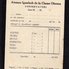Militaria: IGUALADA 1937 - 38 , ATENEU IGUALADI DE LA CLASSE OBRERA, CONSERVATORI. Lote 10725174
