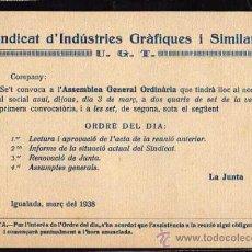 Militaria: IGUALADA MARÇ DEL 1938 , SINDICAT D'INDUSTRIES GRAFIQUES I SIMILARS UGT , ASSEMBLEA GENERAL . Lote 10725440