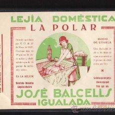 Militaria: IGUALADA - JOSE BALCELLS LEJIA DOMESTICA LA POLAR, IMP. COL·LECTIVIZADA UGT, 1937 - 38. Lote 10725831