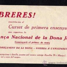 Militaria: OCTAVILLA - OBRERES ! REDREÇAMENT DE LA DONA - GUERRA A L'ANALFABETISME !! 1937 - 38. Lote 10726735