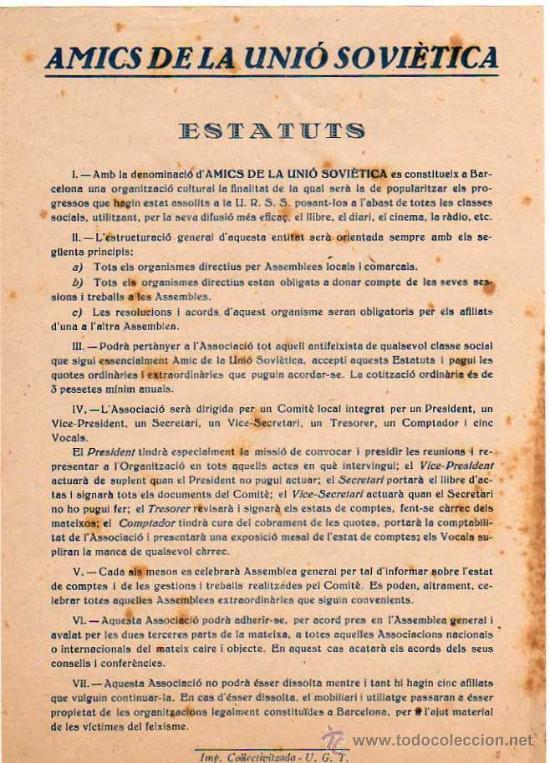 INCREIBLE OCTAVILLA - 1937-38, AMICS DE LA UNIO SOVIETICA - ESTATUT, IMP. COL·LECTIVITZADA UGT (Militar - Guerra Civil Española)