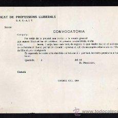 Militaria: IGUALADA 1937-38, SINDICAT DE PROFESSIONS LLIBERALS CNT - AIT, CONVOCATORIA REUNIO. Lote 10727136