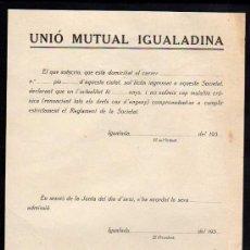 Militaria: IGUALADA 1937-38 , UNIO MUTUAL IGUALADINA, PAPEL DE INGRESO. Lote 10727151