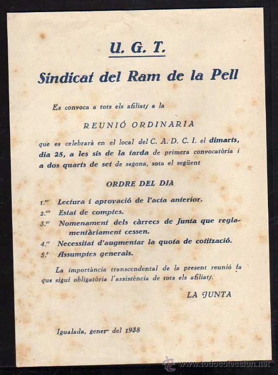IGUALADA GENER DE 1938 - UGT SINDICAT DEL RAM DE LA PELL , REUNIO ORDINARIA (Militar - Guerra Civil Española)