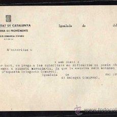 Militaria: IGUALADA 1937 - 38 - GENERALITAT DE CATALUNYA , CONSELLERIA DE PROVEIMENTS ( CARTA ). Lote 10742243