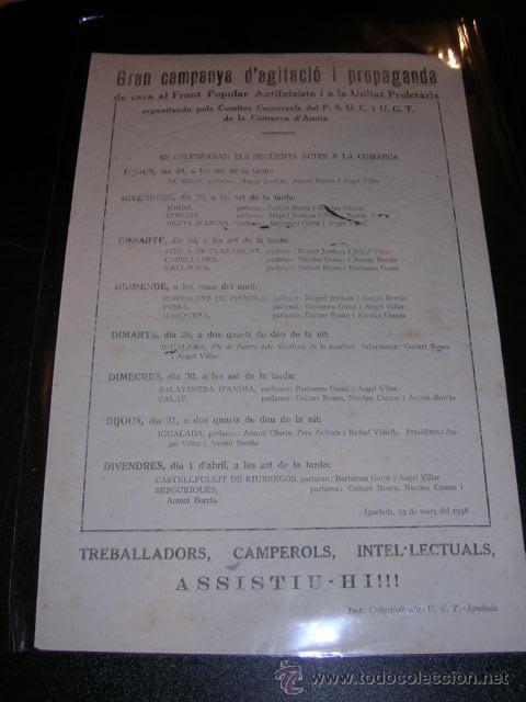 OCTAVILLA - IGUALADA MARÇ 1938 - GRAN CAMPANYA D'AGITACIO I PROPAGANDA DE CARA AL FRONT POPULAR (Militar - Guerra Civil Española)