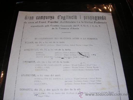 Militaria: OCTAVILLA - IGUALADA MARÇ 1938 - GRAN CAMPANYA D'AGITACIO I PROPAGANDA DE CARA AL FRONT POPULAR - Foto 2 - 13493890