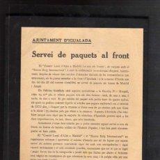 Militaria: IGUALADA SETEMBRE DE 1937 - SERVEI DE PAQUETS AL FRONT AMB CONJUNT SOCORS ROIG INTERNACIONAL. Lote 15533187