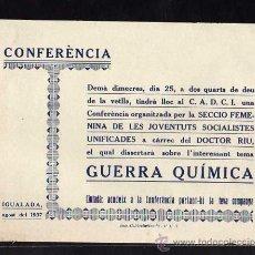 Militaria: IGUALADA AGOST 1937 CONFERENCIA ORGANITZADA SECCIO FEMENINA DE LAS JUVENTUDES SOBRE LA GUERRA QUIMCA. Lote 10804118