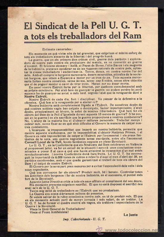 IGUALADA - OCTAVILLA - EL SINDICAT DE LA PELL UGT A TOTS ELS TREBALLADORS DEL RAM, (Militar - Guerra Civil Española)