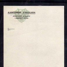 Militaria: IGUALADA - AJUNTAMENT D'IGUALADA DEPARTAMENT DE SANITAT I ASSISTENCIA SOCIAL, FACTURA. Lote 10804528