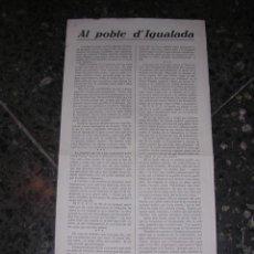 Militaria: IGUALADA , PANFLETO AL POBLE D'IGUALADA , EL COMITE LOCAL DEL RADI D'IGUALADA DEL PSUC. Lote 10816871