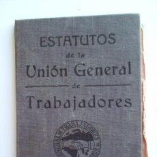 Militaria: CARNET SOCIALISTA -ESTAUTOS -UNION GENERAL DE TRABAJADORES-.UGT- CARTA DE TRABAJO- 1938-BARCELONA. Lote 26167269