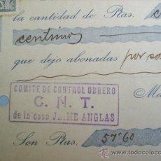 Militaria: RECIBO COMITE CONTROL OBRERO-CNT-GENEROS DE PUNTO MATARO -OCTUBRE -1936-GUERRA CIVIL. Lote 23258076