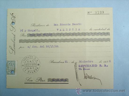 COMITE DE CONTROL-CNT-UGT-VALENCIA- BARCELONA-DICIENBRE 1936-GUERRA CIVIL (Militar - Guerra Civil Española)