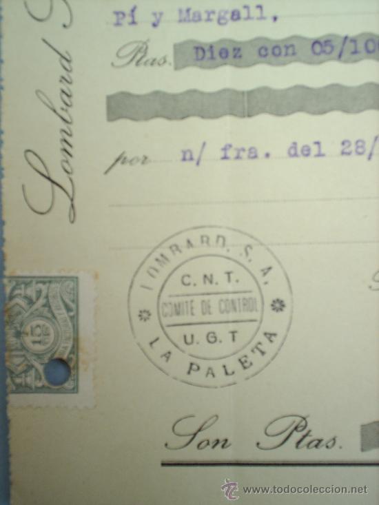 Militaria: COMITE DE CONTROL-CNT-UGT-VALENCIA- BARCELONA-DICIENBRE 1936-GUERRA CIVIL - Foto 2 - 17943117