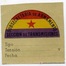 Militaria: ETIQUETA DE LA SUBSECRETARIA DE ARMAMENTO SEC. DE TRANSMISIONES. Lote 28289393