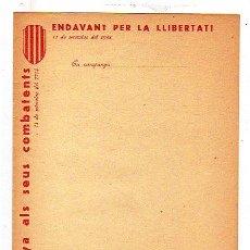 Militaria: ENDAVANT PER LA LLIVERTAT. CATALUNYA ALS SEUS COMBATIENTS. 11 SEPT 1938. GUERRA CIVIL. 22 X 16 CM.. Lote 14000473