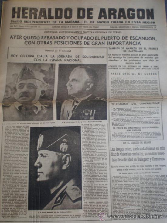 PERIODICO GUERRA CIVIL 29 MAYO 1938 TOMA PUERTO ESCANDON EN TERUEL ATAQUES CASTELLON TREMP Y SORT (Militar - Guerra Civil Española)