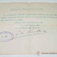 Militaria: ANTIGUO HOJA DE AUTORIZACION DE LA BRIGADA MIXTA NUM. 3 DEL EJERCITO DE LA REPUBLICA ESPAÑOLA - PLEN. Lote 25013405