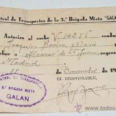 Militaria: ANTIGUO HOJA DE AUTORIZACION DE LA BRIGADA MIXTA NUM. 3 (GALAN) - DEL EJERCITO DE LA REPUBLICA ESPAÑ. Lote 25146848