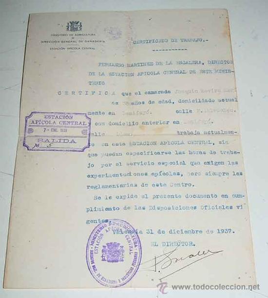 Antiguo certificado de trabajo del ministerio d comprar for Certificado ministerio del interior