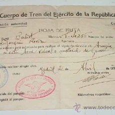 Militaria: ANTIGUO DOCUMENTO DEL CUERPO DEL TREN DEL EJERCITO DE LA REPUBLICA - HOJA DE RUTA DE AUTORIZACION PA. Lote 26765644