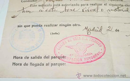 Militaria: ANTIGUO DOCUMENTO DEL CUERPO DEL TREN DEL EJERCITO DE LA REPUBLICA - HOJA DE RUTA DE AUTORIZACION PA - Foto 2 - 26765644
