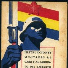 Militaria: FOLLETO GUERRA CIVIL, 1938, DIPTICO, ILUTRADOR RENAU, INSTRUCCIONES EJERCITO POPULAR CABO SARGETO. Lote 218354555
