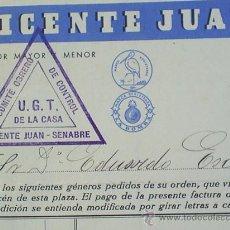 Militaria: HOJA FACTURA COMITE OBRERO UGT ,VALENCIA 1936. Lote 26013113
