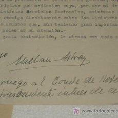 Militaria: AUTOGRAFO DE MILLÁN ASTRAY GUERRA CIVIL LEGIÓN ESPAÑOLA 1938. VER MAS FOTOS.. Lote 26945496
