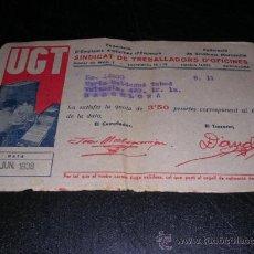 Militaria: RECIBO,UGT,SINDICAT DE TREBALLADORS D'OFICINES ,1938-17X 11 CM.. Lote 17095545