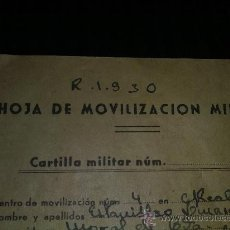 Militaria: HOJA MOVIZACION MILITAR ORIGINAL GUERRA CIVIL ESPAÑOLA. Lote 26444948