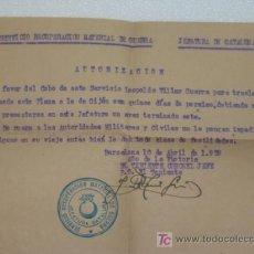 Militaria: SERVICIO DE RECUPERACIÓN MATERIAL GUERRA CIVIL ESPAÑOLA.SALVOCONDUCTO JEFATURA DE CATALUÑA 1939. Lote 25918318