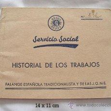 Militaria: GUERRA CIVIL CARTILLA DE FALANGE SERVICIO SOCIAL 1938. Lote 17979541