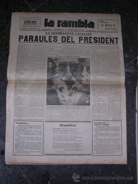 Militaria: REPUBLICA,-LA RAMBLA,PROCLAMACION DE LA REPUBLICA,20 ABRIL 1931-ILUSTRADO,14 PAG. 58X43 CM. - Foto 2 - 18037185