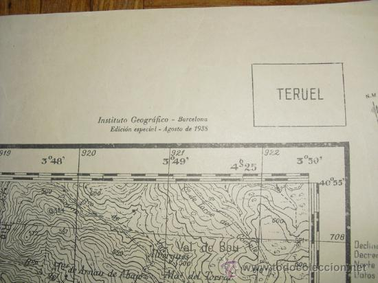 Militaria: AGOSTO 1938 GUERRA CIVIL MAPA MILITAR DE LA PORTELLADA ( TERUEL) - Foto 2 - 24680285