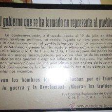 Militaria: FOLLETO GUERRA CIVIL. CNT_FAI_JJLL. Lote 19308605