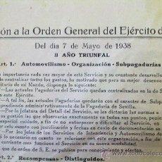 Militaria: DOCUMENTO ORIGINAL GUERRA CIVIL ESPAÑOLA ,1938. Lote 26538718