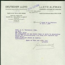 Militaria: SEGUROS LLOYD. JEREZ. 1937. CARTA COMERCIAL. VIVA ESPAÑA.. Lote 22778919