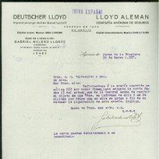 Militaria: SEGUROS LLOYD. JEREZ. 1937. CARTA COMERCIAL. VIVA ESPAÑA.. Lote 19940305
