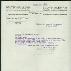 Militaria: SEGUROS LLOYD. JEREZ. 1937. CARTA COMERCIAL. VIVA ESPAÑA.. Lote 19940310