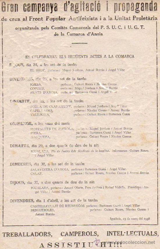 Militaria: OCTAVILLA - IGUALADA MARÇ 1938 - GRAN CAMPANYA D'AGITACIO I PROPAGANDA DE CARA AL FRONT POPULAR - Foto 4 - 13493890