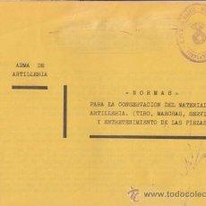 Militaria: NORMAS PARA LA CONSERVACIÓN DEL MATERIAL DE ARTILLERÍA. CUARTEL DE FUENLABRADA, 1937. Lote 20279251