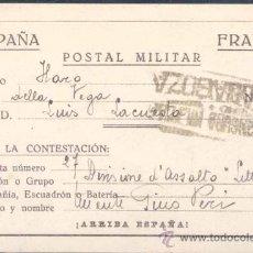Militaria: HISTORIA POSTAL.-TARJETA MILITAR DE FRANQUICIA DIRIGIDA A LA 27 DIVISIÓN DE ASALTO LITTORIO A HARO. Lote 21817753