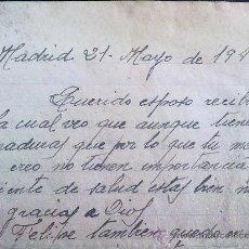Militaria: CARTA ORIGINAL ,MUJER ESCRIVIENDO A SU MARIDO ,EN LA CARCEL ,1941. Lote 26404632