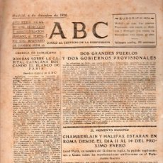 Militaria: ABC MADRID 4 DICIEMBRE 1938. BANDO REPUBLICANO. VER DESCRIPCION.. Lote 22867059