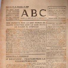 Militaria: ABC MADRID 25 DICIEMBRE 1938. BANDO REPUBLICANO. VER DESCRIPCION.. Lote 22867261