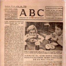 Militaria: ABC MADRID 10 JULIO 1938. BANDO REPUBLICANO. VER DESCRIPCION.. Lote 22867532
